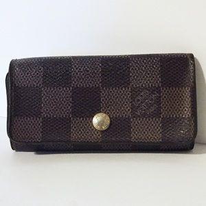 Louis Vuitton brown damier canvas four key wallet